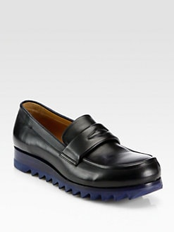 Jil Sander - Leather Wedge Loafers