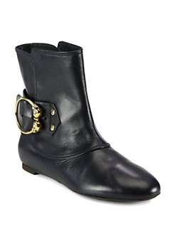 Alexander McQueen - Leather Buckle Ankle Boots