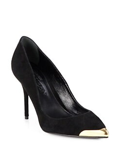 Alexander McQueen - Metal-Detail Suede Pumps
