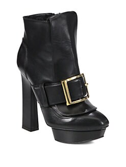 Alexander McQueen - Puritan Leather Buckle Ankle Boots