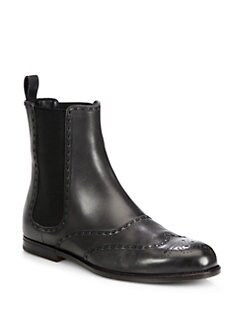 Bottega Veneta - Leather Wingtip Ankle Boots