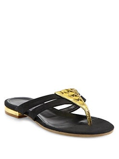 Bottega Veneta - Suede & Woven Mirror Leather Thong Sandals