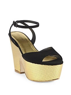 Bottega Veneta - Suede & Metallic Leather Wedge Sandals