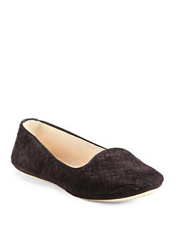 Bottega Veneta - Intrecciato Woven Suede Smoking Slippers