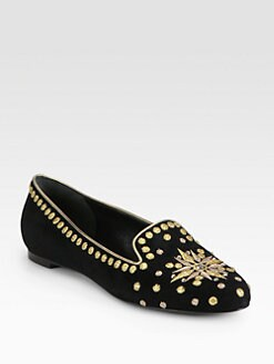 Alexander McQueen - Embroidered Suede Smoking Slippers