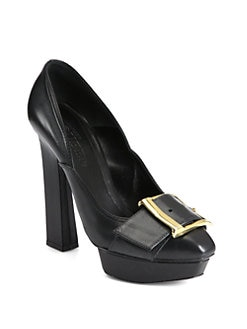 Alexander McQueen - Puritan Leather Buckle Platform Pumps