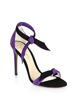 Alexandre Birman - Bicolor Suede Ankle-Tie Sandals