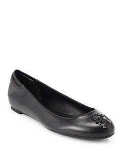 Alexander McQueen - Leather Sequin Skull Ballet Flats