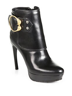Alexander McQueen - Leather Buckle Platform Ankle Boots