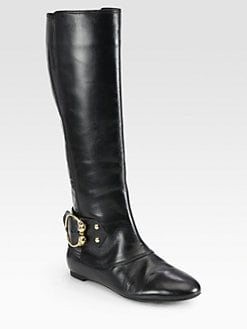 Alexander McQueen - Leather Buckle Knee-High Boots