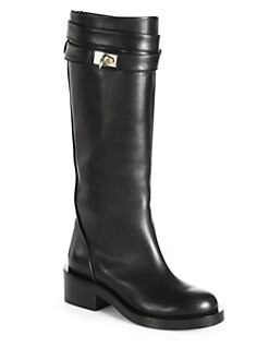 Givenchy - Leather Shark-Lock Riding Boots