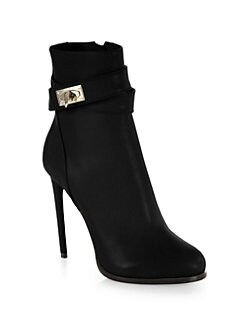 Givenchy - Leather Shark-Lock Ankle Boots
