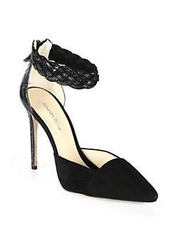 Alexandre Birman - Suede & Braided Python Ankle Strap Pumps