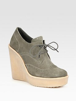 Pierre Hardy - Lace-Up Suede Wedge Platform Oxfords