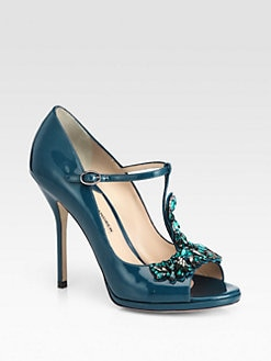 Paul Andrew - Sirius Jeweled Patent Leather T-Strap Pumps