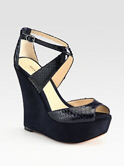 Alexandre Birman - Python and Suede Wedge Sandals