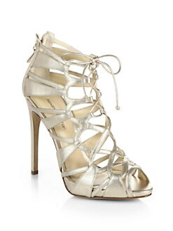 Alexandre Birman - Strappy Metallic Leather Lace-Up Sandals