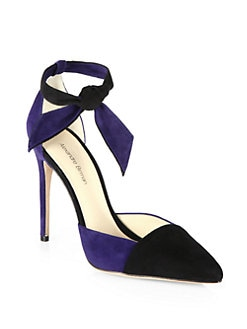 Alexandre Birman - Bicolor Suede Ankle-Tie Pumps