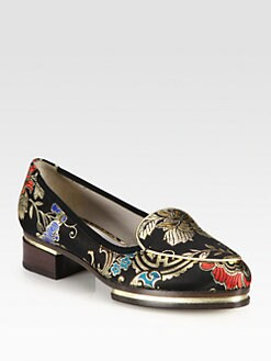 Jason Wu - Brocade and Metallic Leather Stacked Loafers
