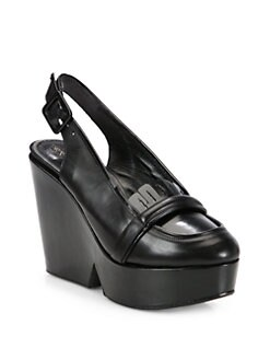 Robert Clergerie - Drama Leather Slingback Wedge Pumps