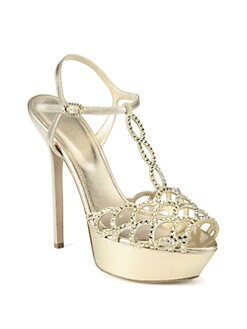 Sergio Rossi - Vague Nappa Silk Swarovski Crystal-Coated T-Strap Sandals