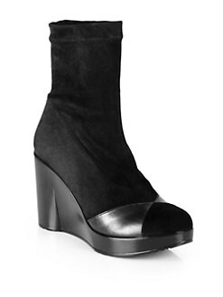Robert Clergerie - Cendre Suede & Leather Wedge Ankle Boots
