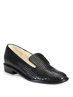 Robert Clergerie - Jasma Textured Leather Smoking Slippers