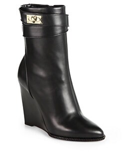 Givenchy - Leather Shark-Lock Wedge Mid-Calf Boots