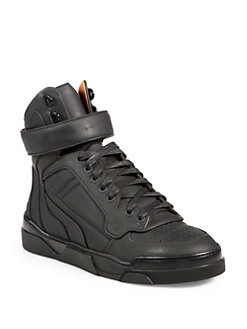 Givenchy - Leather High-Top Lace-Up Sneakers