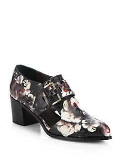 Jason Wu - Floral-Print Leather Cutout Brogues