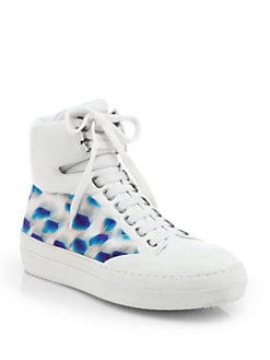 Jil Sander Navy - Abstract-Print Canvas & Leather High-Top Sneakers