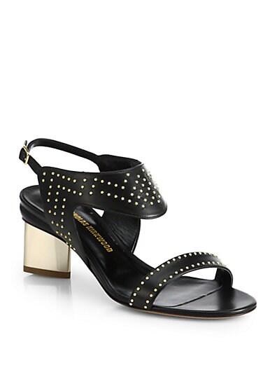 Studded Leather Block-Heel Sandals