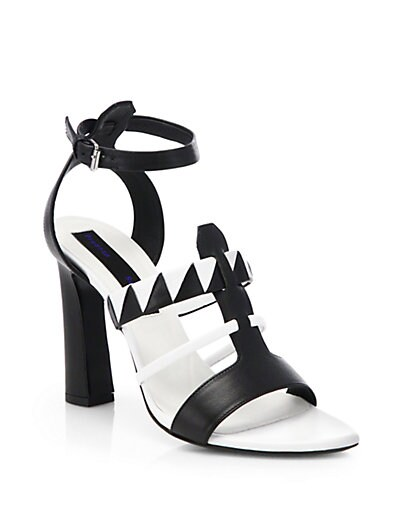 Black  White Leather Sandals