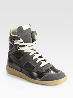 Maison Martin Margiela - Cutout Suede & Leather High-Top Sneakers