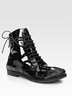 Marsell - Patent Leather Lace-Up Ankle Boots