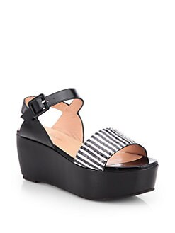 Robert Clergerie - Fraks Striped Snakeskin Platform Sandals