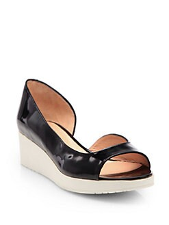 Robert Clergerie - Vimi Patent Leather d'Orsay Wedge Pumps