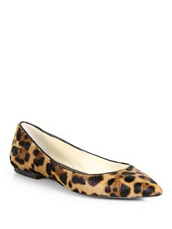 Brian Atwood - Leopard Calf Hair Point-Toe Flats