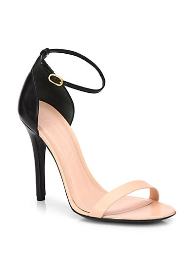 Bicolor Leather Ankle-Strap Sandals