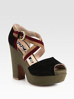 Rochas - Multicolored Suede Wedge Sandals
