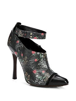 Derek Lam - Devon Floral-Print Python Ankle Boots