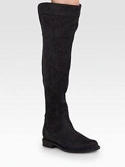 Pollini - Suede Over-The-Knee Flat Boots