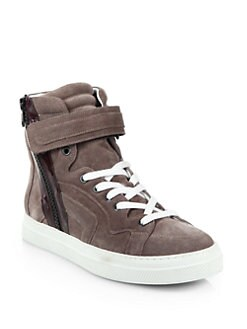 Pierre Hardy - Patent Leather Striped Suede Sneakers