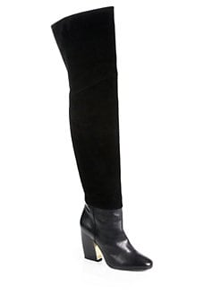 Pierre Hardy - Suede & Leather Thigh-High Boots