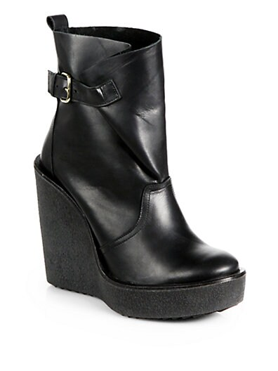 Leather Platform Wedge Ankle Boots