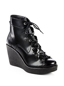 Pierre Hardy - Leather Lace-Up Wedge Ankle Boots