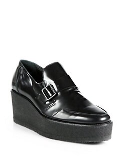 Pierre Hardy - Leather Buckle Platform Wedge Loafers