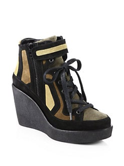 Pierre Hardy - Suede Lace-Up Wedge Sneakers