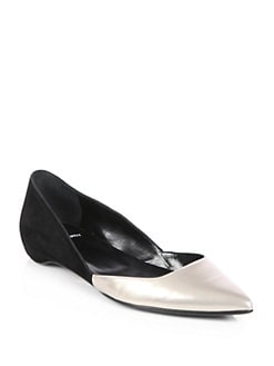 Pierre Hardy - Leather & Suede Point-Toe Flats