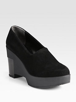 Robert Clergerie - Suede and Patent Leather Wedge Pumps